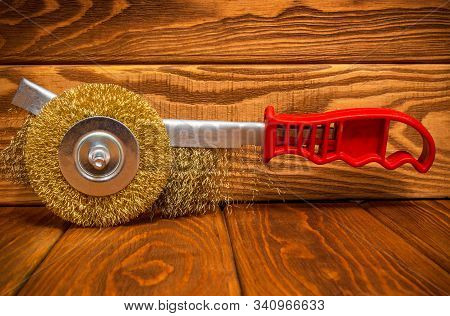 Set of abrasive tools and sandpaper on vintage wooden boards stock photo