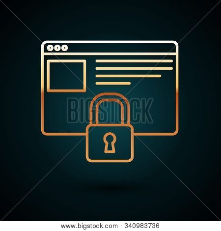 Gold line Secure your site with HTTPS, SSL icon isolated on dark blue background. Internet communication protocol. Vector Illustration stock photo