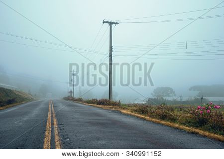 Long lonely paved road passing through a countryside landscape with fields and farms, in a foggy day near Bento Goncalves. A friendly country town in southern Brazil famous for its wine production. stock photo