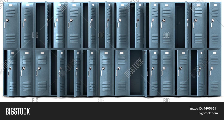 School Lockers Ransacked Front 44051611 Image Stock Photo