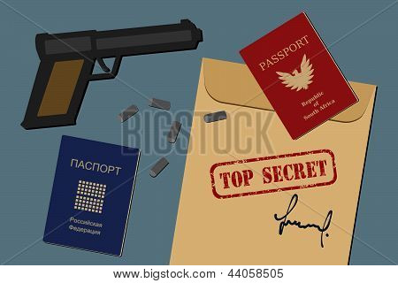 Secret documents, fake passports, gun and bullets - spy objects and espionage equipment illustration stock photo