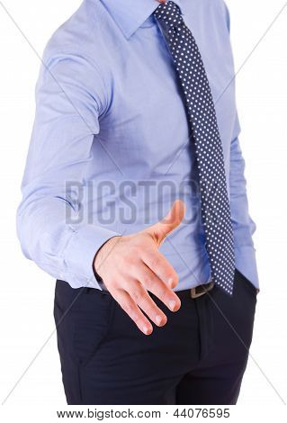 Business man giving hand for handshake over white. stock photo