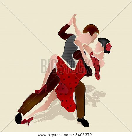 Latino dancers. painting of merenge or salsa dancing couple