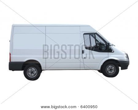A White Delivery Van Isolated on a White Background. stock photo