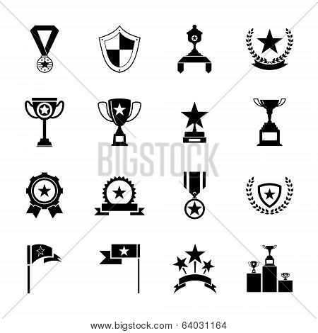 Awards Symbols and Trophy silhouette Icons Set Isolated Vector Illustration stock photo