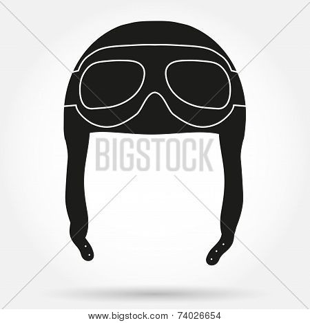 Silhouette symbol of Retro aviator pilot leather helmet with goggles. Simple Vector illustration Isolated on white stock photo
