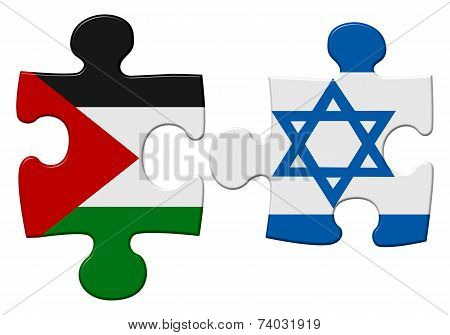 Israel and Palestine flag puzzle with the pieces separated on an isolated white background with a clipping path stock photo