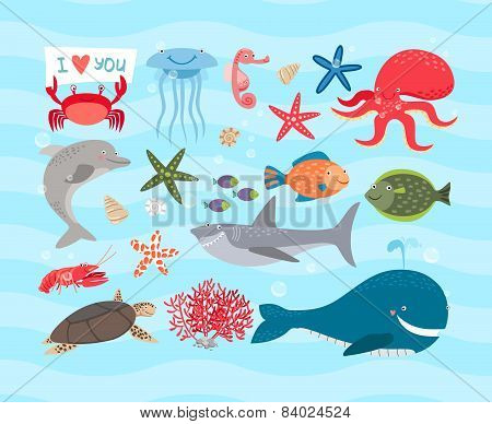 Vector charming ocean creatures. Dolphin and whale, octopus, turtle