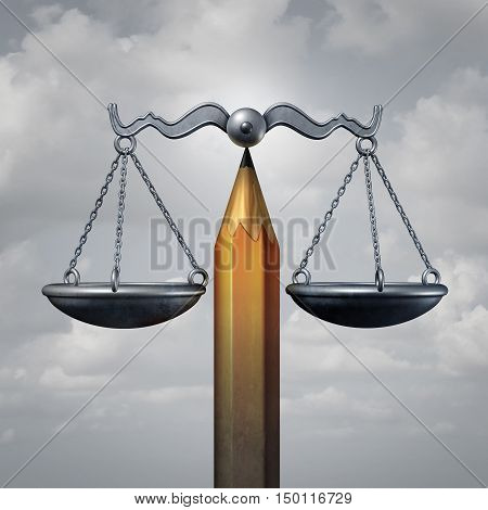 Creative law legal concept or education rights as a pencil balancing a justice scale as a metaphor for lawyer planning or free speech rights as a 3D illustration. stock photo