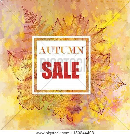 Sales banner with autumn leaves. Leaves on a watercolor background with space for text stock photo