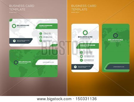 corporate business card print template vertical and horizontal abstract wajeb Gallery