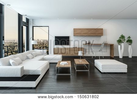 Elegant modern white living room interior with back accents and stone floor furnished with modular u