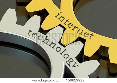 internet technology concept on the gearwheels 3D rendering