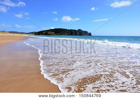 Landscape view of Hot Water beach in Mercury Bay on the east coast of the Coromandel Peninsula New Zealand stock photo