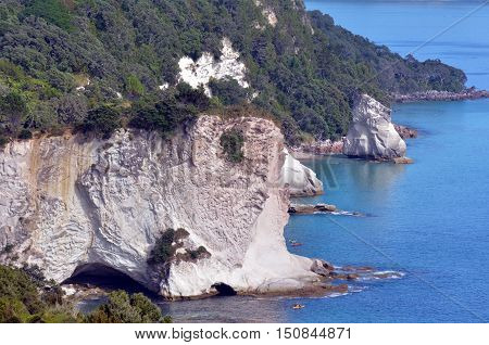 Aerial view of Te Whanganui-A-Hei (Cathedral Cove) Marine Reserve in Coromandel Peninsula North Island New Zealand. stock photo
