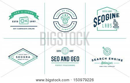 Set of Vector SEO Search Engine Optimisation Elements and Icons Illustration can be used as Logo or Icon in premium quality stock photo