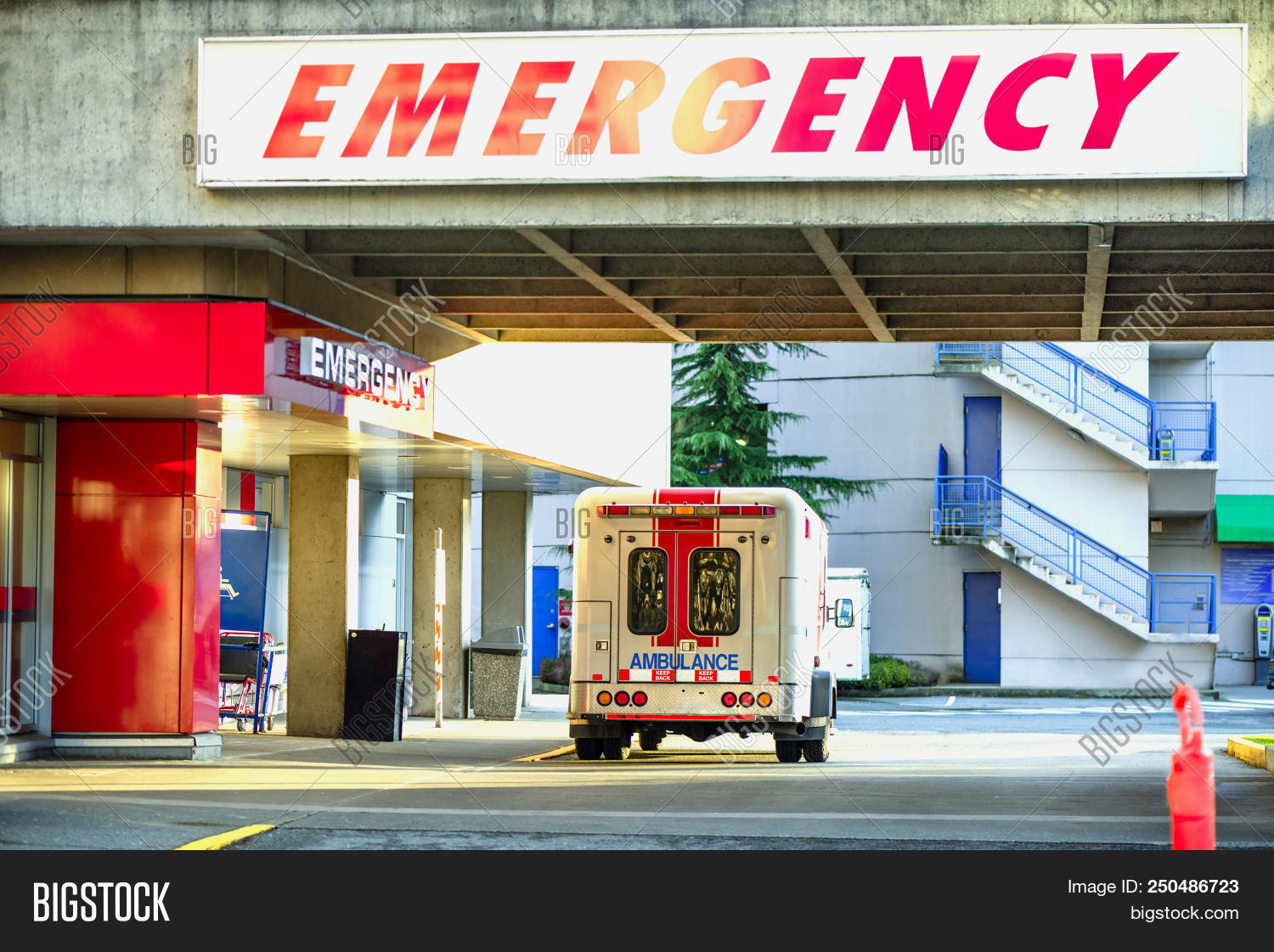 Ambulance Car In Front Of Emergency Entrance. A Modern Ambulance Car Parked Near The Emergency Entra