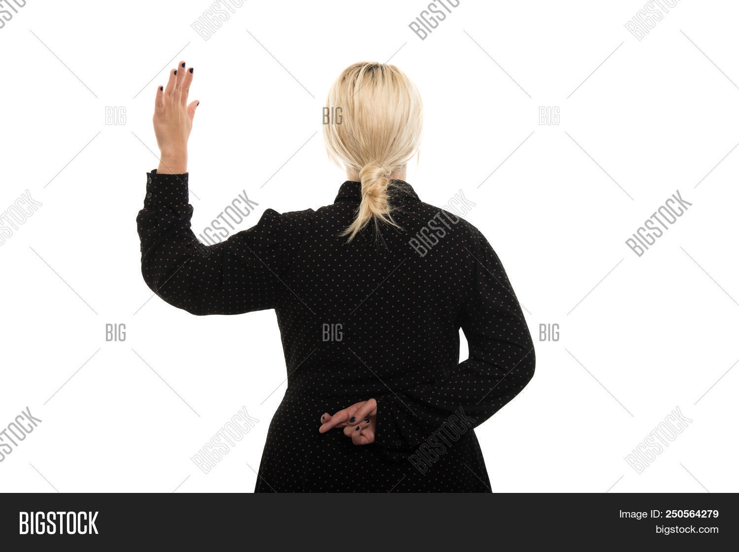 Portrait of young blonde female teacher wearing glasses showing oath gesture isolated on white background with copyspace advertising area