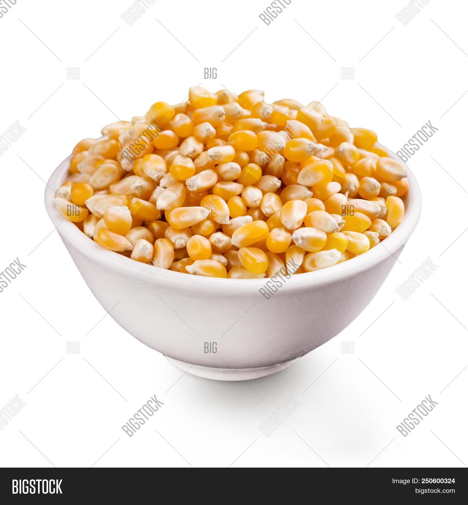 Unpopped Popcorn Seeds In Ceramic Bowl