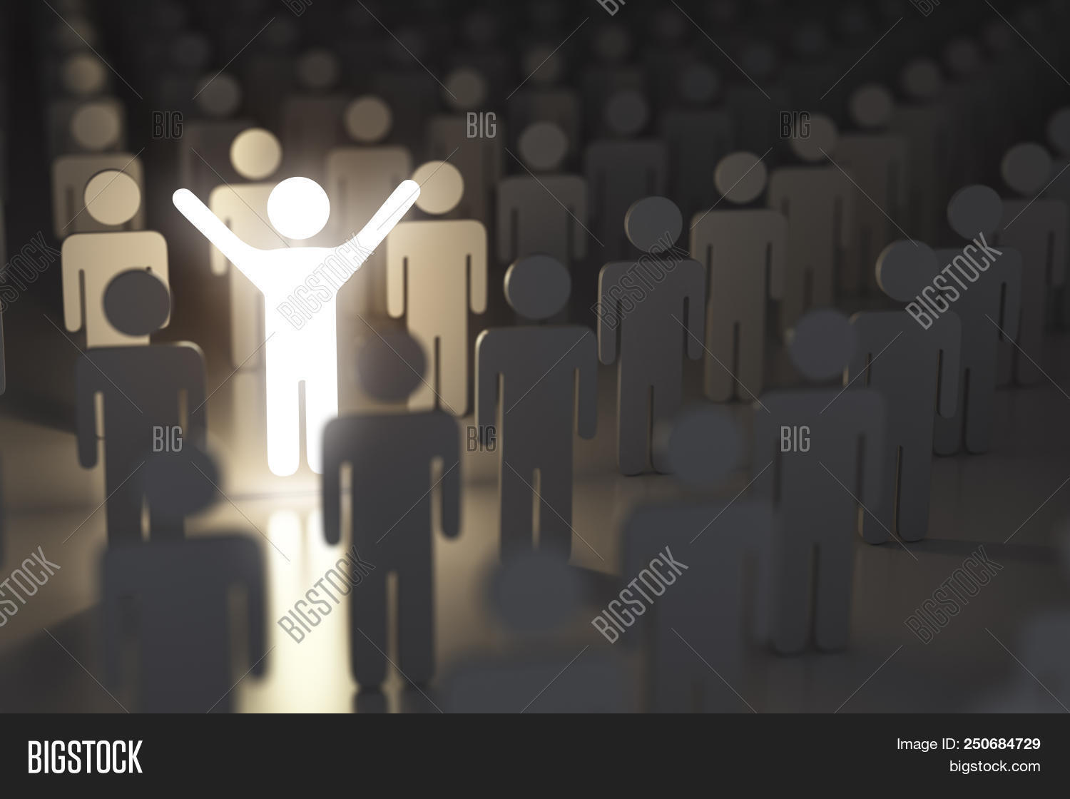 Stand out from the crowd, difference and leadership concept. Many people and a one glowing. 3d illus