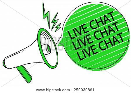Text sign showing Live Chat Live Chat Live Chat. Conceptual photo talking with people friends relatives online Megaphone loudspeaker green speech bubble stripes important loud message stock photo
