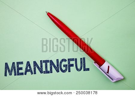 Handwriting text Meaningful. Concept meaning Having meaning Significant Relevant Important Purposeful Ball point artwork smooth parallel lines pattern study beautiful poster stock photo