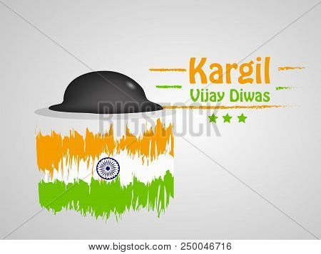 Illustration of a hat and India flag with Kargil Vijay Diwas text Kargil Vijay Diwas meaning is a victory day for Indian Soldiers celebrated on 26th of July in owner of the Kargil war hero's in India stock photo