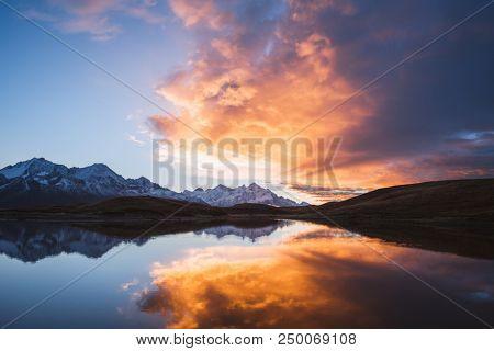 Mountain Lake. Beautiful sunrise. Morning landscape.  Koruldi Lake. Main Caucasian ridge. Zemo Svaneti, Georgia  stock photo