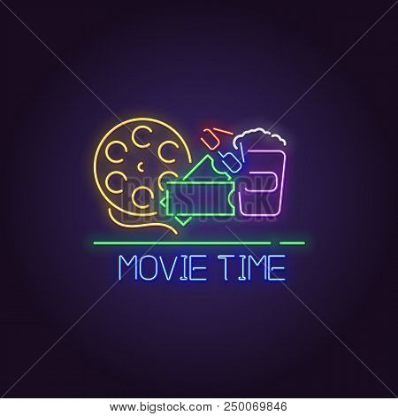 Cinema premiere line neon style vector. Movie neon light sign with popcorn, stereo glasses, movie tickets and reel. Cinema festival or night glowing vintage billboard. stock photo