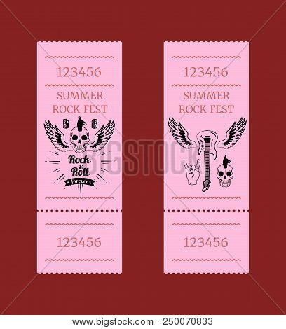 Summer rock fest collection of tickets. Vector illustration of skull with mohawk, small loudspeakers, electric guitar with wings and sign of horns stock photo