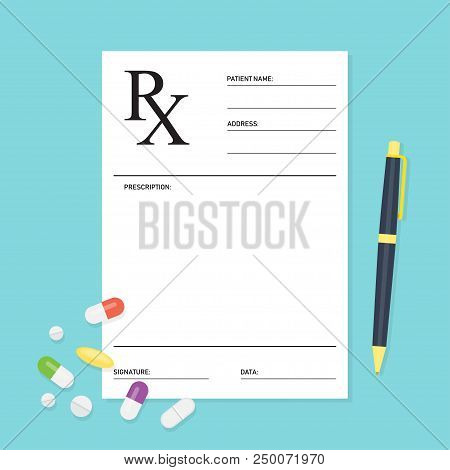 Empty medical prescription Rx form with pills. Healthcare. Vector illustration Flat style stock photo
