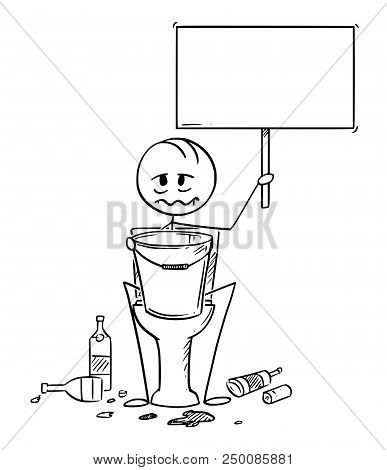 Cartoon stick drawing conceptual illustration of sick or drunk man sitting on toiled with bucket for vomiting and empty sign in hands. Empty bottles are lying around. stock photo