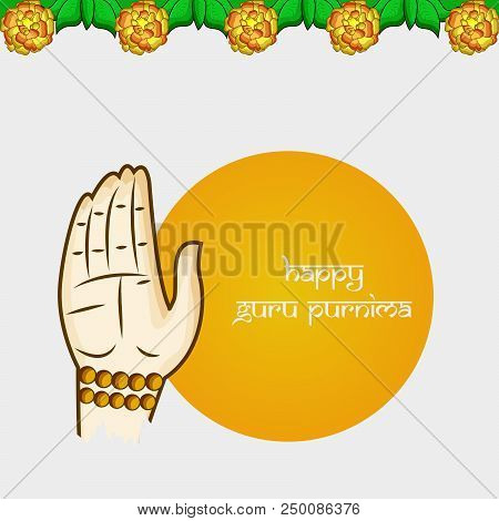 illustration of hand giving blessing and decoration with happy Guru Purnima text on the occasion of hindu festival Guru Purnima celebrated in India stock photo