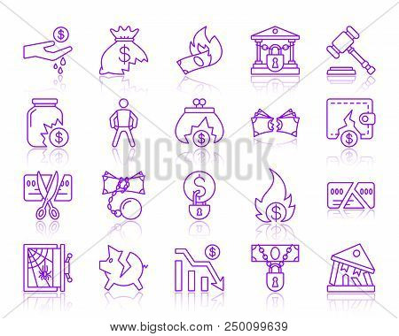 Bankruptcy ultraviolet thin line icons set. Outline vector purple web sign kit of business. Crisis linear icon collection includes money, loss, problem. Simple bankruptcy symbol with reflection stock photo