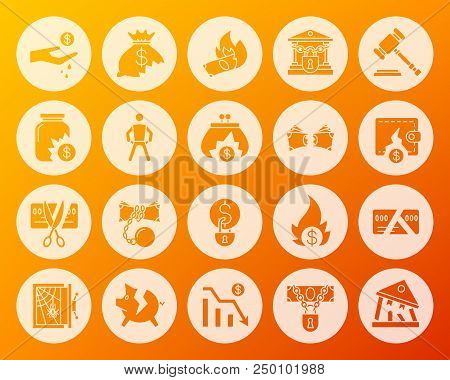 Bankruptcy icons set. Web sign kit of business. Crisis pictogram collection includes safe, piggy, debt. Simple bankruptcy vector symbol. Icon shape carved from circle on colorful background stock photo