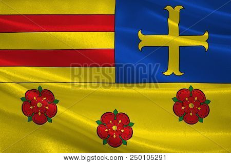 Flag of Oldenburg is a district in the state of Lower Saxony, Germany. 3d illustration stock photo