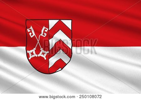 Flag of Minden-Luebbecke is a district in the northeastern part of North Rhine-Westphalia, Germany. 3d illustration stock photo