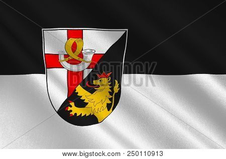 Flag of Cochem-Zell is a district in the north-west of Rhineland-Palatinate, Germany. 3d illustration stock photo