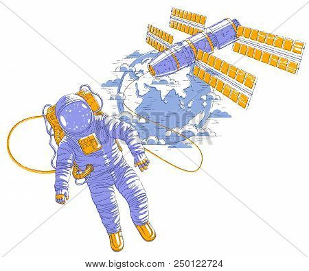 Spaceman flying in open space connected to space station and earth planet in background, astronaut man or woman in spacesuit floating in weightlessness and iss spacecraft behind him. Vector. stock photo