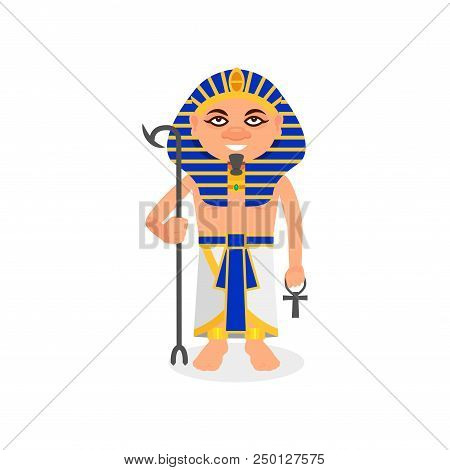 Egyptian pharaoh with scepter and ankh cross in hands. Ruler of ancient Egypt. Cartoon male character in traditional clothes and headdress. Colorful flat vector design isolated on white background. stock photo