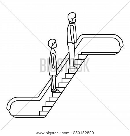 People escalator icon. Outline people escalator vector icon for web design isolated on white background stock photo