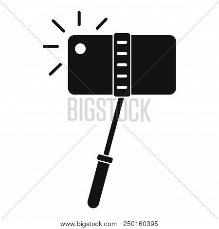 Take a photo at monopod icon. Simple illustration of take a photo at monopod vector icon for web design isolated on white background stock photo