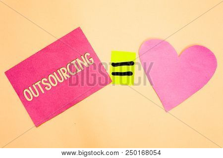 Word writing text Outsourcing. Business concept for Obtain goods or service by contract from an outside supplier Drawing calculation solve equality symbol love heart text card paper work stock photo