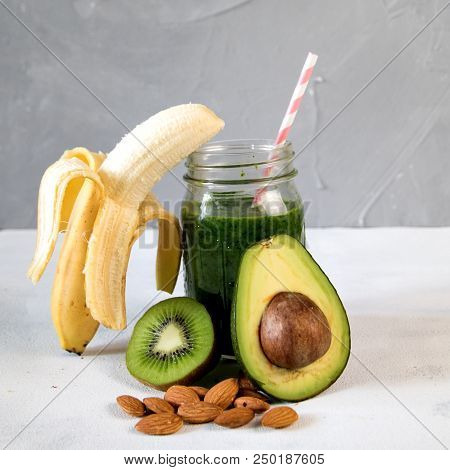 Healthy green smoothie vegetables and fruits. Good morning stock photo