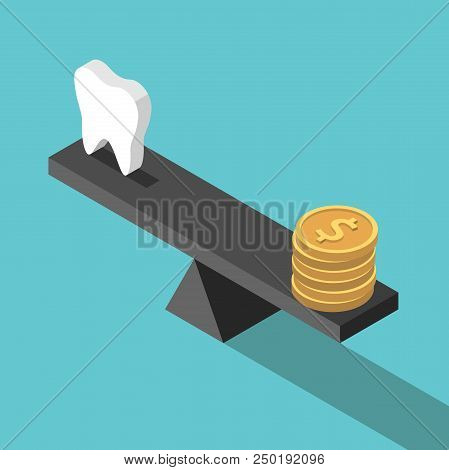 Isometric white tooth and gold dollar coins on seesaw weight scales on turquoise blue. Dental care, health, price and money concept. Flat design. Vector illustration, no transparency, no gradients stock photo