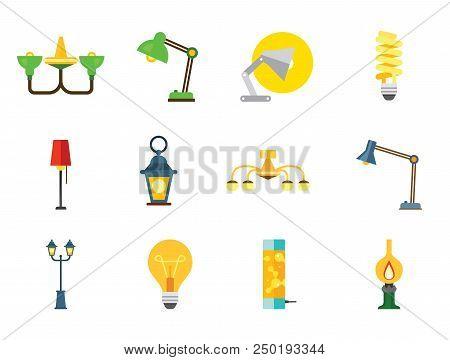 Lamp Icon Set. Heating Lamp Chandelier Desk Light Floor Lamp Fluorescent Light Lightbulb Kerosene Lamp Green Chandelier Decorative Lantern Street Light stock photo