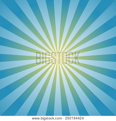 Sunlight background. Powder blue color burst background with yellow highlight. Fantasy Vector illustration. Magic Sun beam ray sunburst pattern background. Retro circus bright backdrop. stock photo
