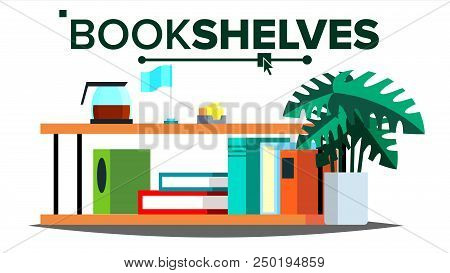 Storage Shelves Vector. Document, Book. Colored Office Folders. Information Organization. Flat Isolated Illustration stock photo