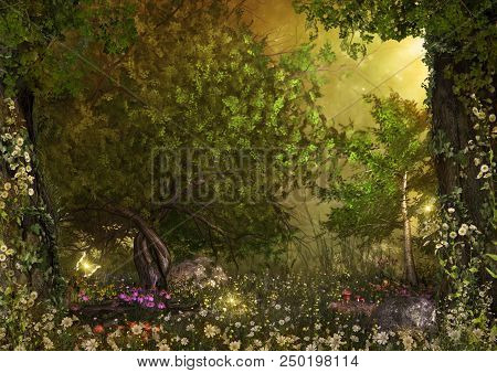An opening in an enchanting fairy forest, ground covered with magical daisy flowers, 3d render painting stock photo