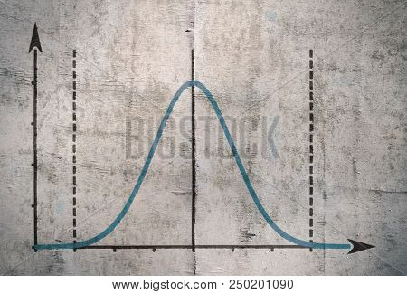Famous Gauss curve representing the distribution of probability stock photo